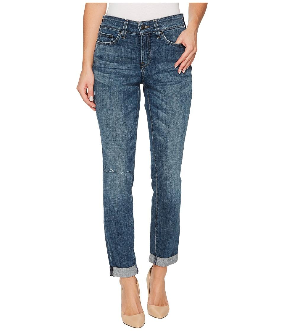 NYDJ - Girlfriend Jeans w/ Knee Slit in Crosshatch Denim in Newton (Newton) Womens Jeans