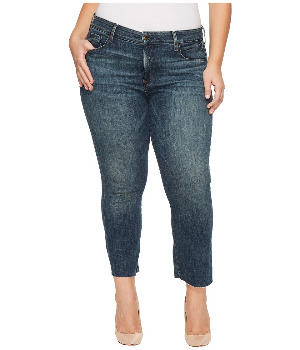 NYDJ Plus Size - Plus Size Marilyn Ankle Jeans with Raw Hem in Crosshatch Denim in Desert Gold (Desert Gold) Womens Jeans