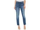 NYDJ Ami Skinny Ankle Jeans w/ Fray Side Slit in Crosshatch Denim in Newton