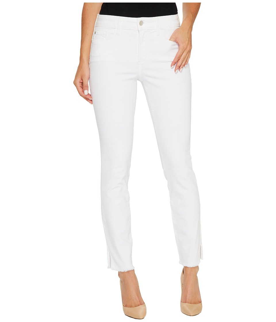 NYDJ Ami Skinny Ankle Jeans w/ Fray Side Slit in Optic White (Optic White) Women