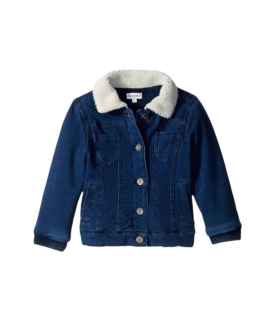 Splendid Littles Baby French Terry Indigo Jacket with Sherpa Collar (Little Kids) (Indigo) Girl