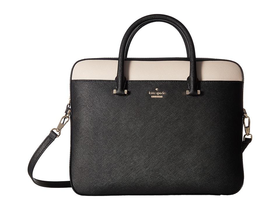 Kate Spade New York 13 Saffiano Laptop Bag (Black/Tusk) Computer Bags