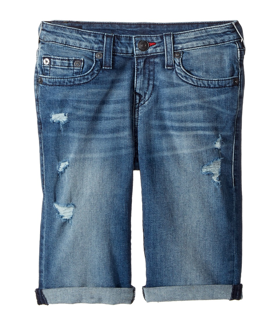 True Religion Kids - Geno Single End Shorts in Used Wash