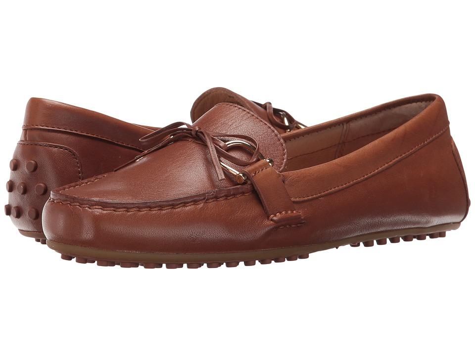 LAUREN Ralph Lauren Briley-FL (Deep Saddle Tan Super Soft Leather) Women