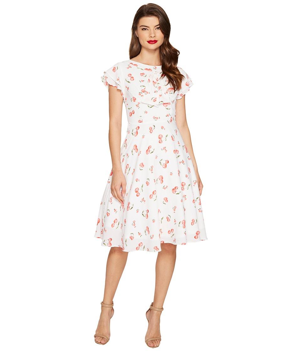 Unique Vintage Cherry Print Cap Sleeve Dixon Day Dress (White/Red) Women