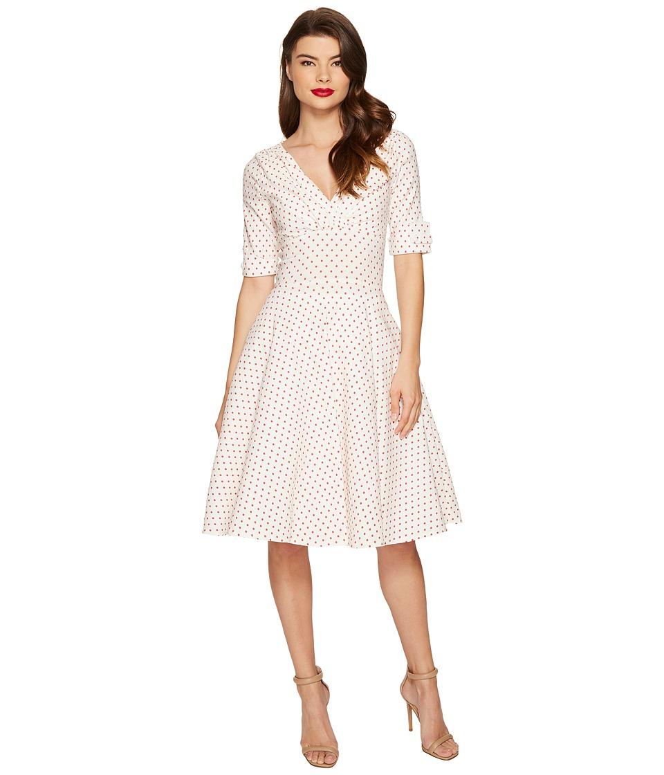 Unique Vintage Delores Swing Dress (White/Red Dot) Women