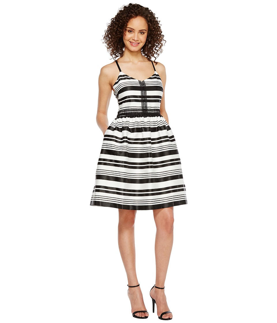 Jessica Simpson Striped Party Dress JS7A9599 (Ivory/Black) Women
