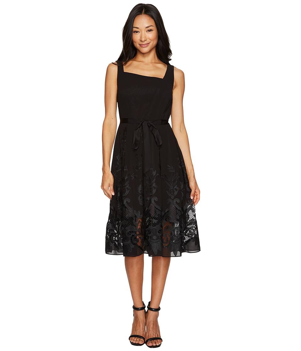 Tahari by ASL Petite Petite Embroidered Hem Dress (Black) Women