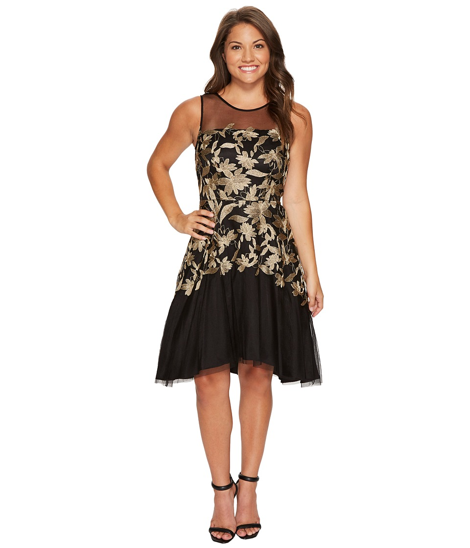 Tahari by ASL Petite Petite Embroidered Mesh Party Dress (Black/Gold) Women