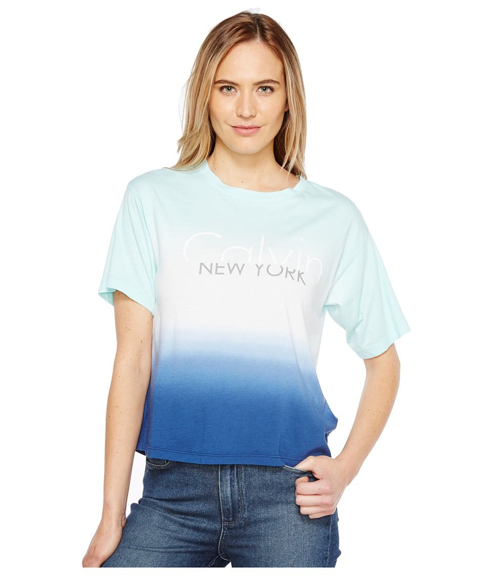 Calvin Klein Jeans Dip-Dye Logo Boy Fit T-Shirt (Fresh Mint) Women