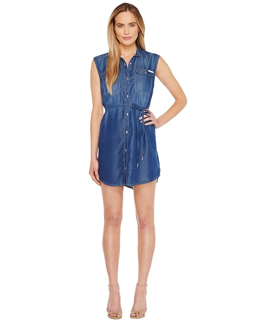 Calvin Klein Jeans Sleeveless Denim Utility Dress (Mackenzie Mid) Women