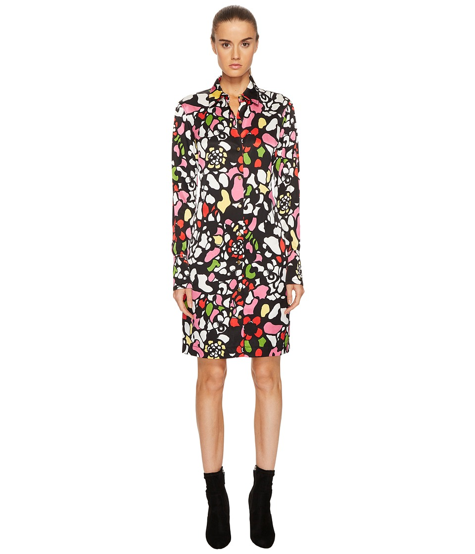 Sonia Rykiel - Runway Flower Viscose Printed Shirtdress (Multi Black) Womens Dress
