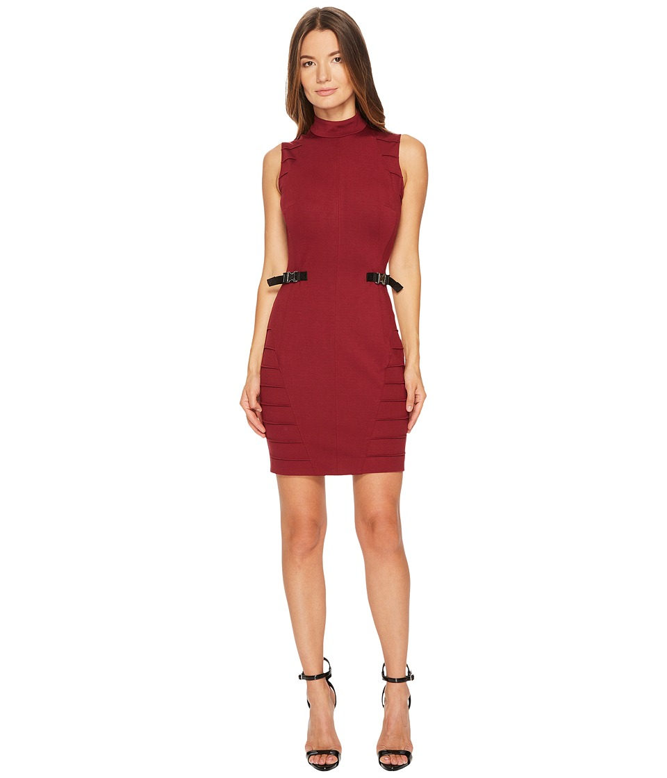 Versace Jeans Stretch Mock Neck Buckle Dress (Rhododendron Red) Women