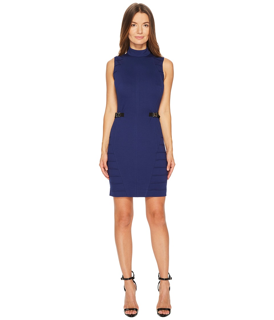 Versace Jeans Stretch Mock Neck Buckle Dress (Blue Astrale) Women