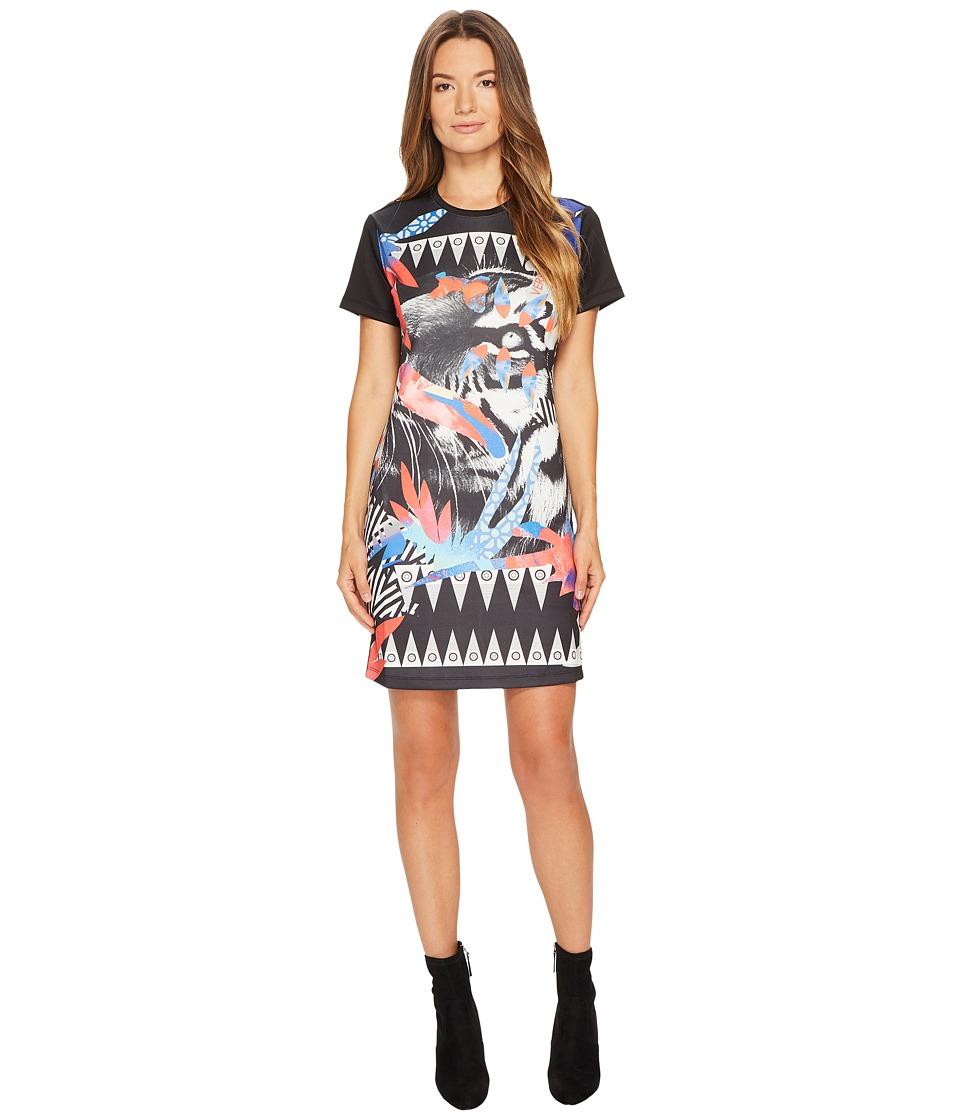 Versace Jeans Neoprene Crew Neck Tiger Print Dress (Nero) Women