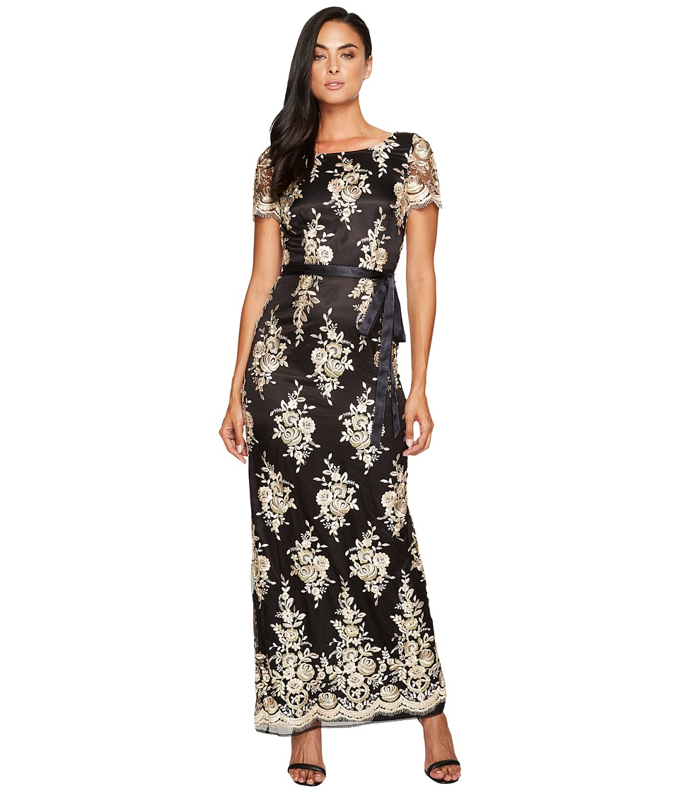 Tahari by ASL Embroidered Sheath Gown (Black/Blush/Gold) Women