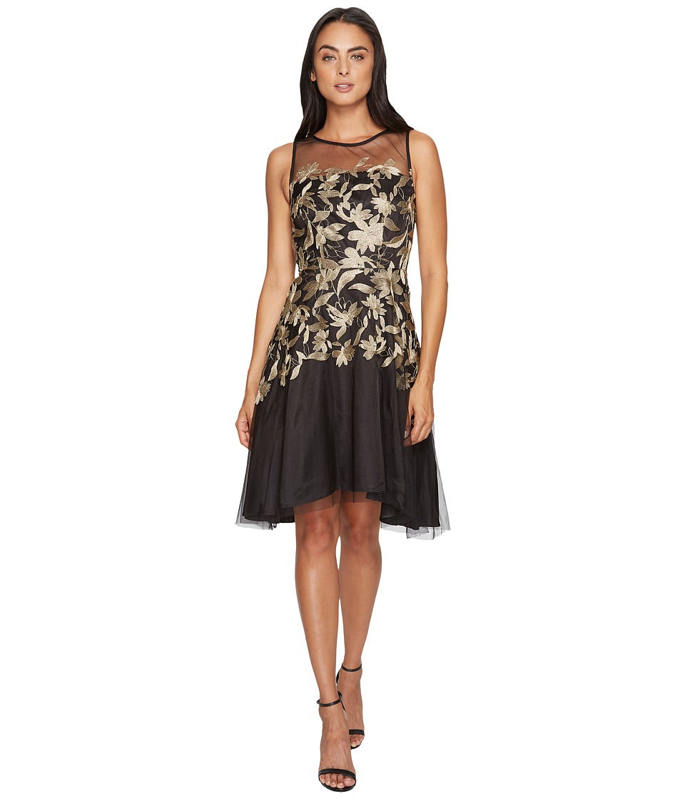 Tahari by ASL Embroidered Mesh Party Dress (Black/Gold) Women