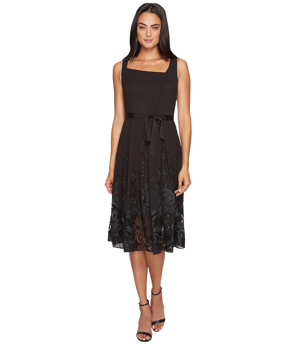 Tahari by ASL Embroidered Hem Chiffon Dress (Black) Women