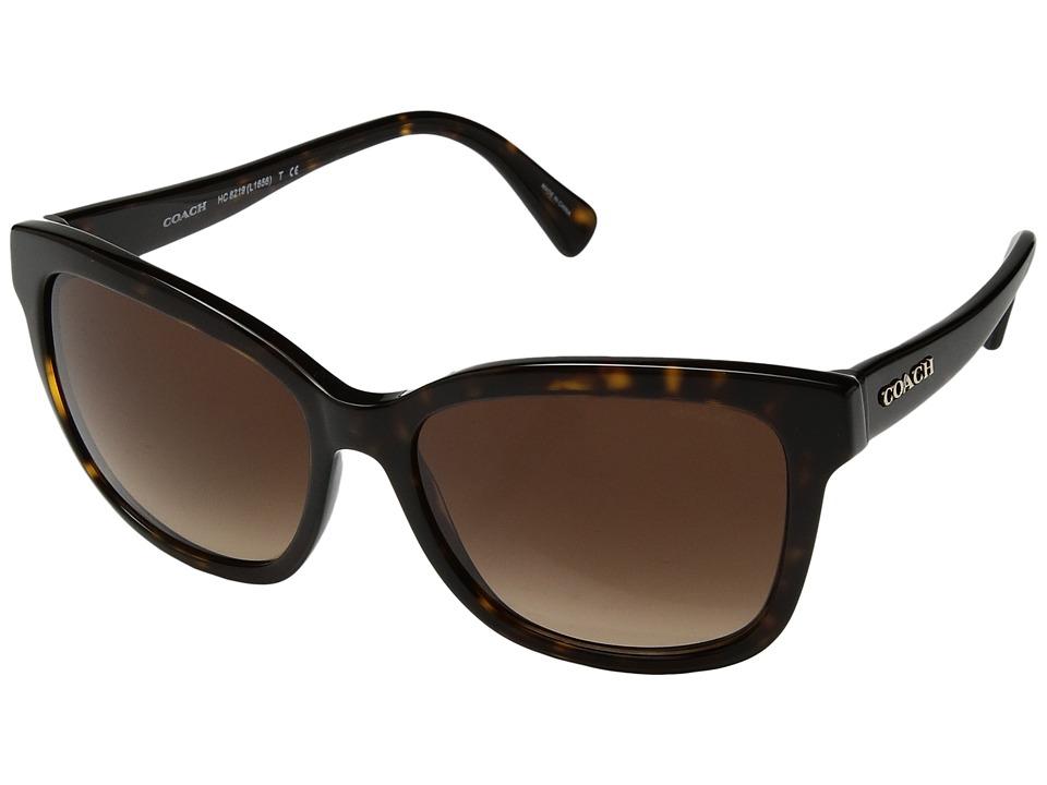 COACH - 0HC8219 (Dark Tortoise/Brown Gradient) Fashion Sunglasses