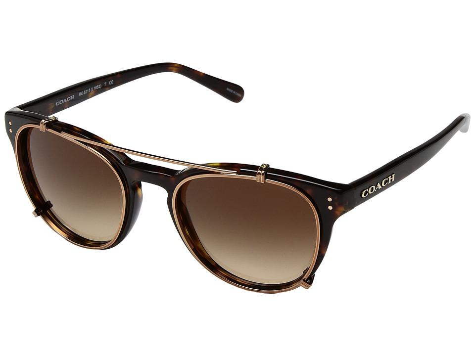 COACH - 0HC8216 (Dark Tortoise/Brown Gradient) Fashion Sunglasses