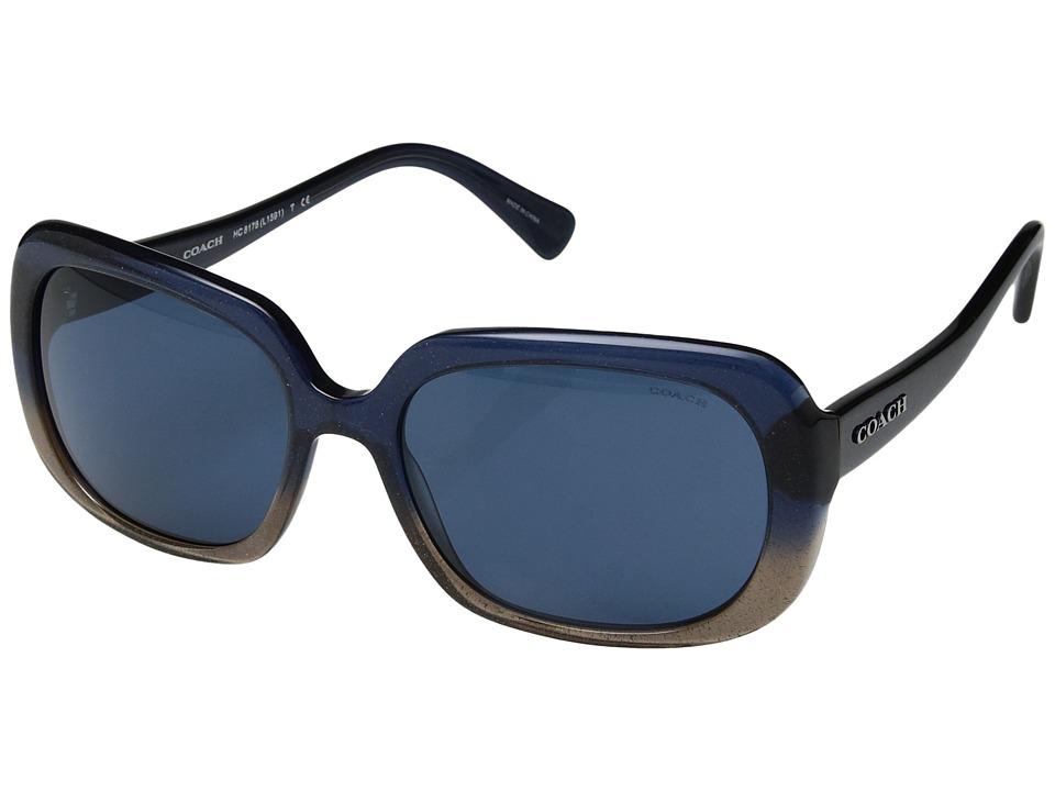 COACH - 0HC8178 (Denim Taupe Glitter Gradient/Dark Blue Solid) Fashion Sunglasses