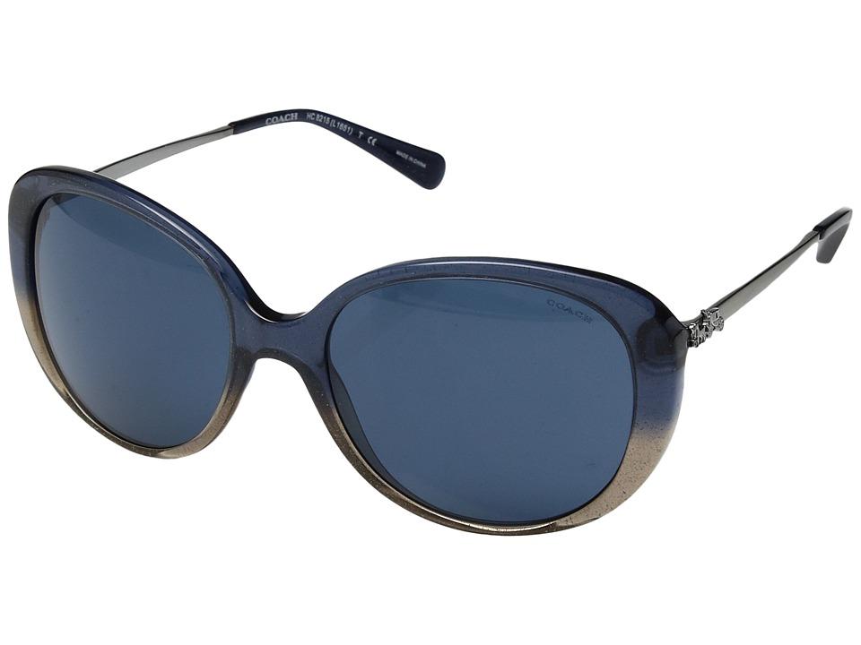 COACH - 0HC8215 (Denim Taupe Glitter Gradient/Dark Blue Solid) Fashion Sunglasses