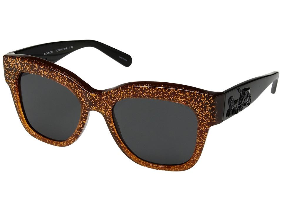 COACH - 0HC8213 (Amber Saddle Glitter/Dark Grey Solid) Fashion Sunglasses