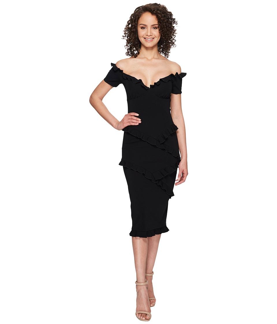 Nicole Miller Audrey Off the Shoulder Ruffle Party Dress (Black) Women