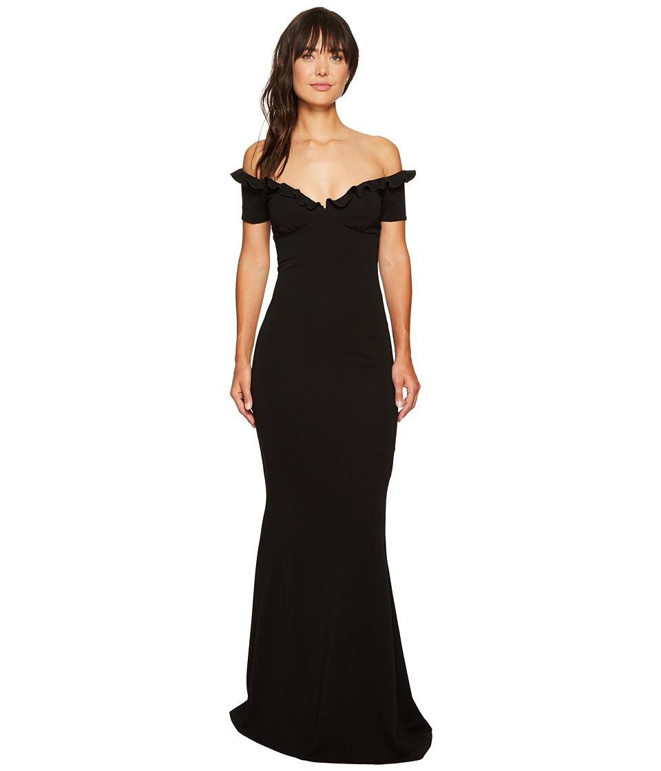 Nicole Miller Audrey Off Shoulder Ruffle Gown (Black) Women