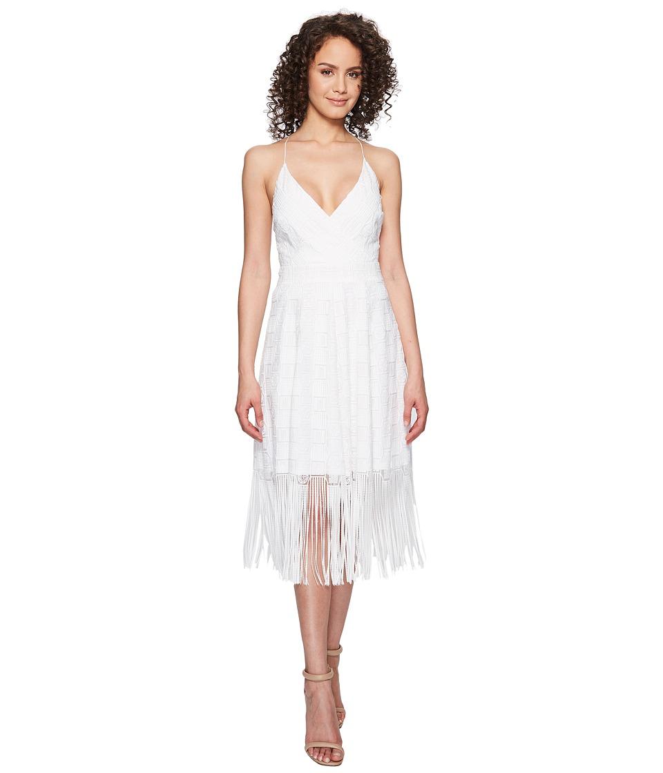 Nicole Miller Elina Burnout Fringe Party Dress (White) Wo...