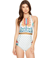 Nicole Miller - La Plage By Nicole Miller Trome L'oeil Zip-Up One-Piece