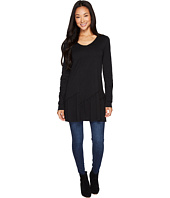 Mod-o-doc - Slub Jersey Shirred Asymmetrical Hem Long Sleeve Tunic