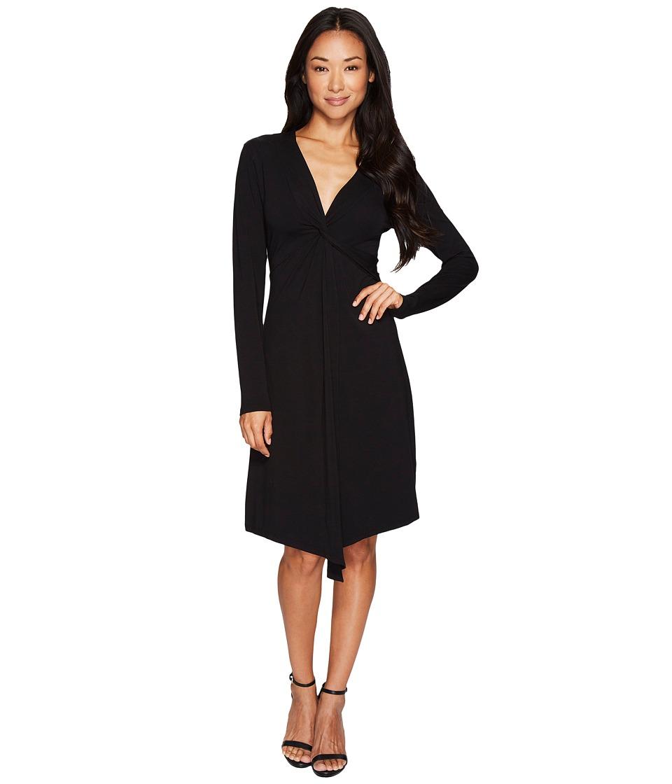 Mod-o-doc Cotton Modal Spandex Jersey Seamed Flyaway Dress (Black) Women