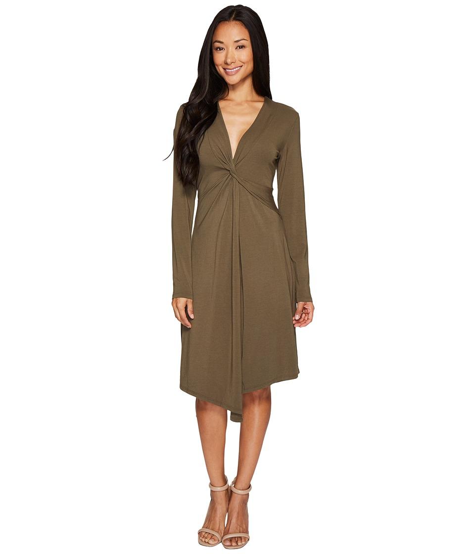 Mod-o-doc Cotton Modal Spandex Jersey Seamed Flyaway Dress (Herb Green) Women