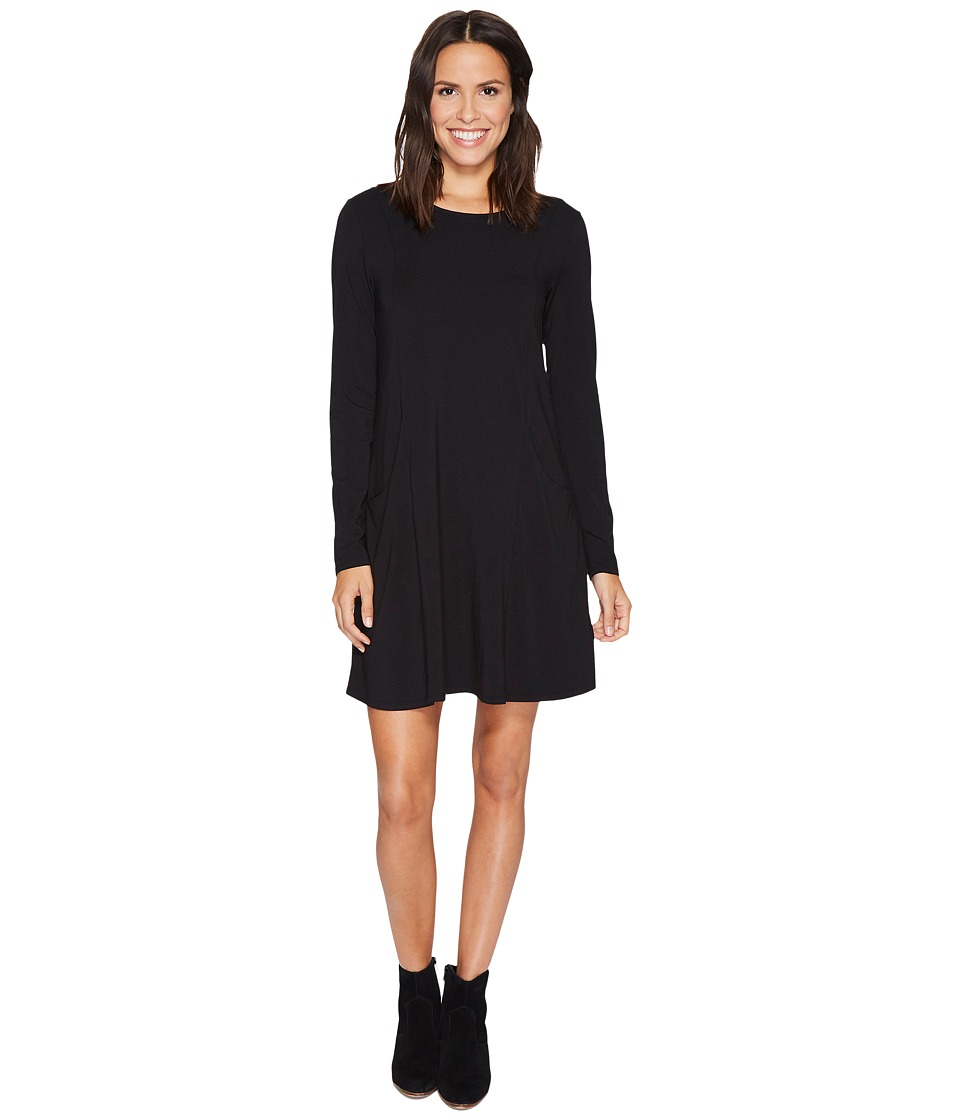 Mod-o-doc Cotton Modal Spandex Jersey Princess Seamed Dress with Front Pockets (Black) Women