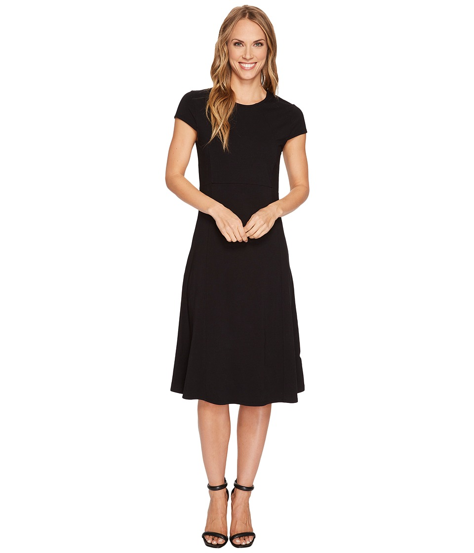 Mod-o-doc Cotton Modal Spandex Jersey Cap Sleeve Fit and Flare Dress (Black) Women