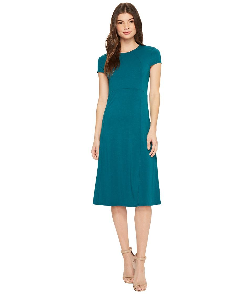 Mod-o-doc Cotton Modal Spandex Jersey Cap Sleeve Fit and Flare Dress (Dark Jade) Women