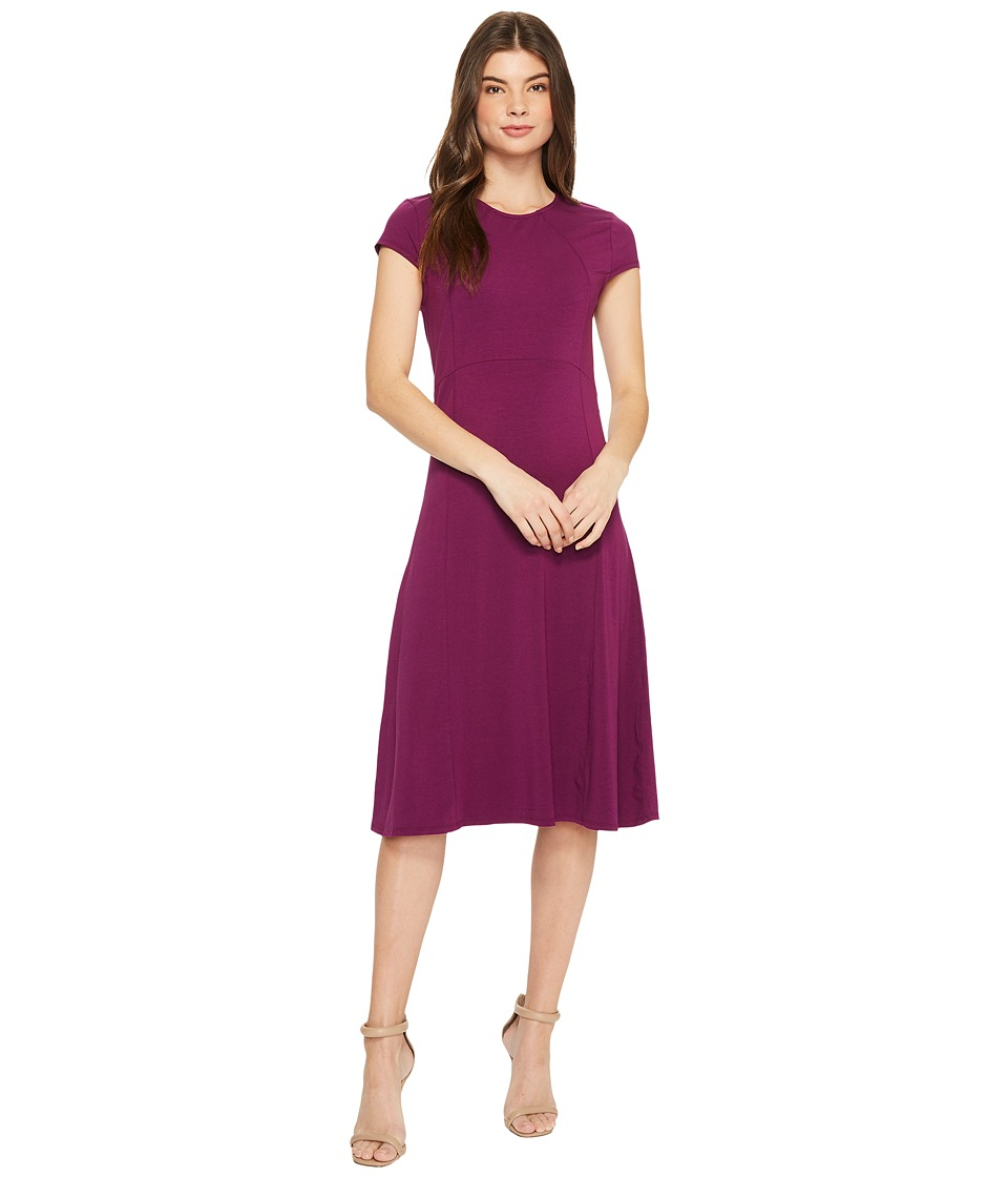 Mod-o-doc Cotton Modal Spandex Jersey Cap Sleeve Fit and Flare Dress (Jam) Women