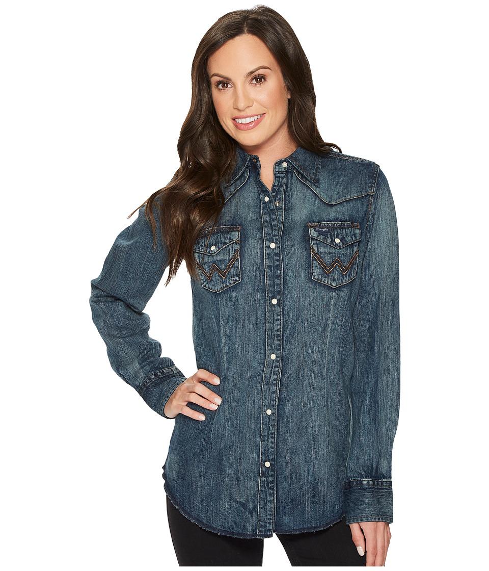 Wrangler - Long Sleeve Snap Western Shirt (Denim) Womens Clothing