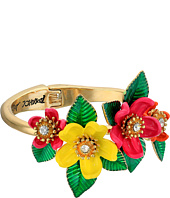 Betsey Johnson - Tropical Mixed Flower Hinged Bangle Bracelet