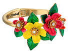 Tropical Mixed Flower Hinged Bangle Bracelet