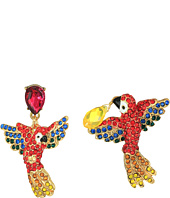 Betsey Johnson - Tropical Pave Parrot Mismatch Drop Earrings