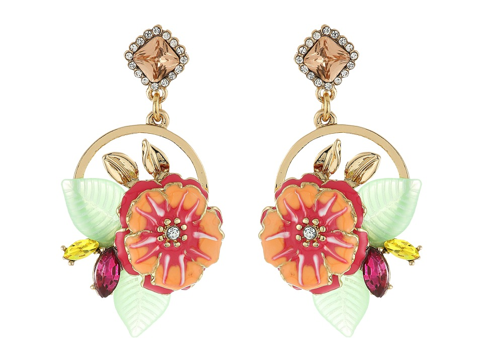 Vintage Style Jewelry, Retro Jewelry Betsey Johnson - Tropical Flower Cluster Round Drop Earrings Multi Earring $34.99 AT vintagedancer.com