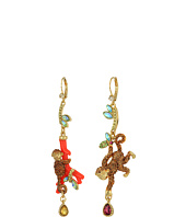 Betsey Johnson - Tropical Monkey Mismatch Linear Earrings