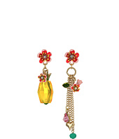 Betsey Johnson - Pineapple & Multi Charm Mismatch Drop Earrings