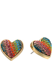 Betsey Johnson - Rainbow Pave Heart Stud Earrings