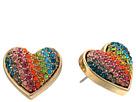 Betsey Johnson - Rainbow Pave Heart Stud Earrings