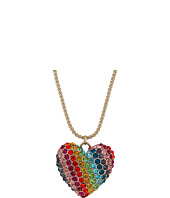 Betsey Johnson - Rainbow Pave Heart Pendant Necklace