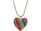 Betsey Johnson - Rainbow Pave Heart Pendant Necklace