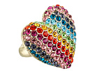 Betsey Johnson - Pave Rainbow Heart Stretch Ring